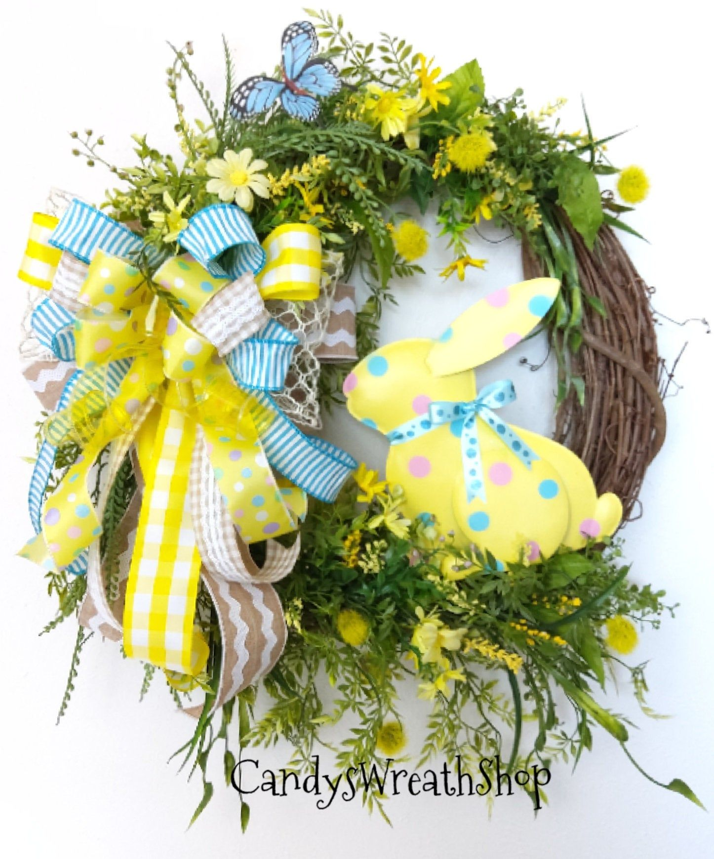 Photo of Easter Wreath, Spring Wreath, Grapevine Wreath, Bunny Wreath, Floral Wreath, Farmhouse Wreath, Welcome Wreath, Easter Bunny Wreath, Rabbit