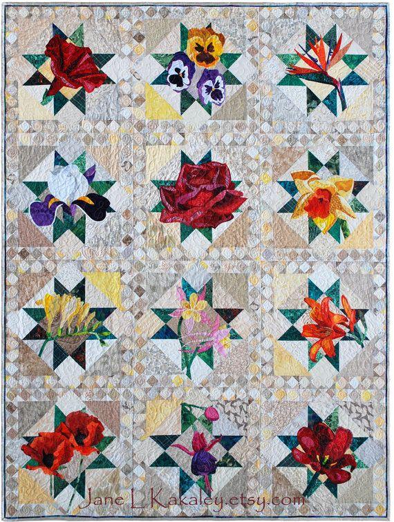 Floral Applique Quilt Pattern Series by Jane L Kakaley   Flower ... : applique quilt patterns flowers - Adamdwight.com