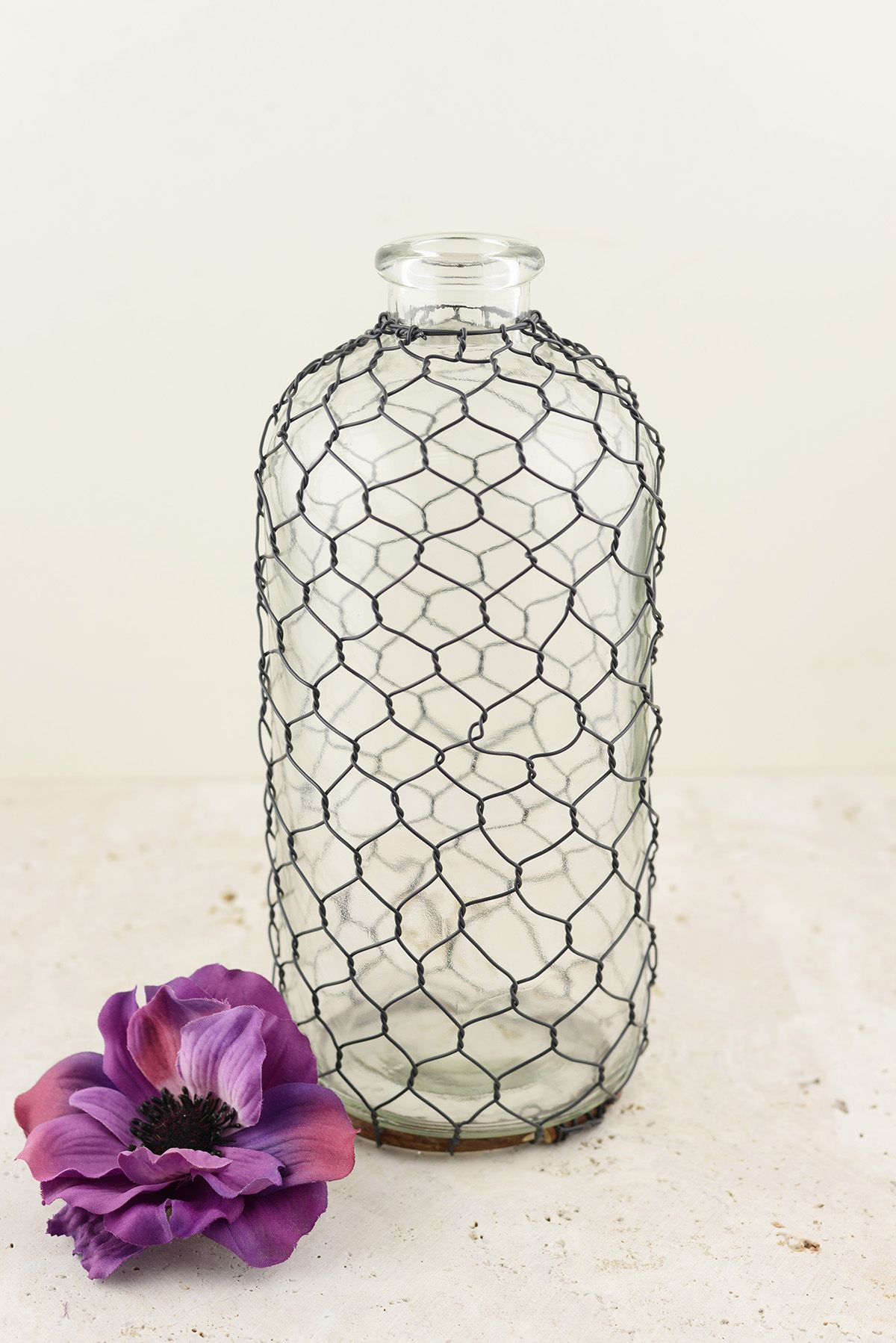 Chicken Wire Covered Glass Bottle - want to DIY! (www.ChefBrandy.com ...