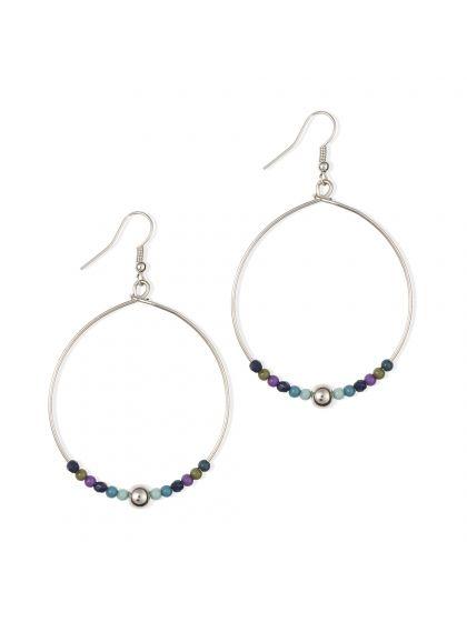 Boucles d'oreilles anneaux décorées de perles | Bala Boosté