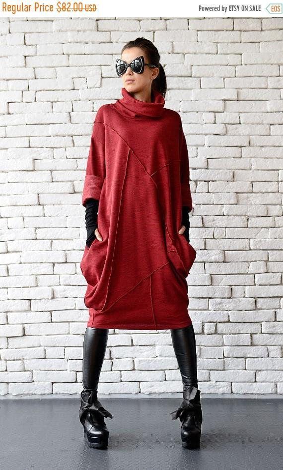 Rote lose Tunika/Oversize rot Kleid/rot Maxi Kleid ...