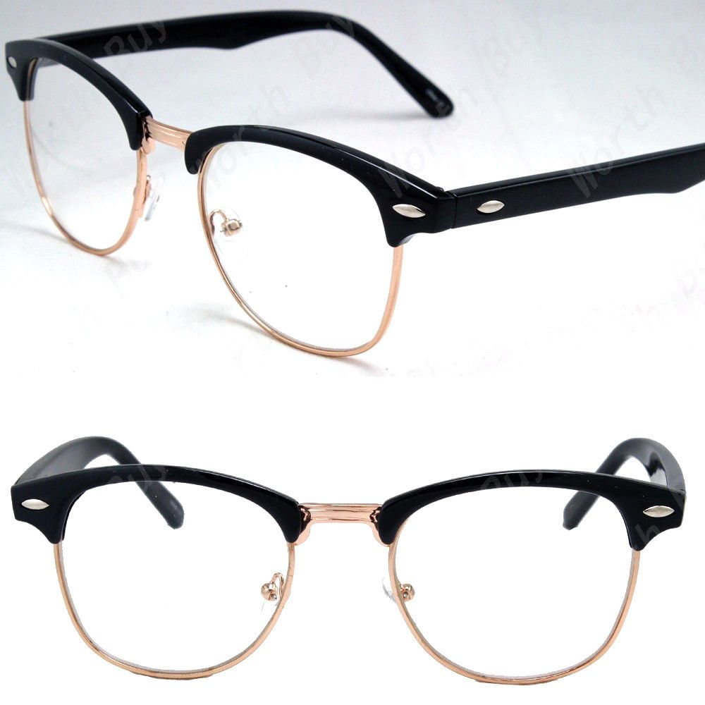 clue HALF RIMMED FASHION Unisex Retro Geek Nerd Glasses MENS WOMENS new