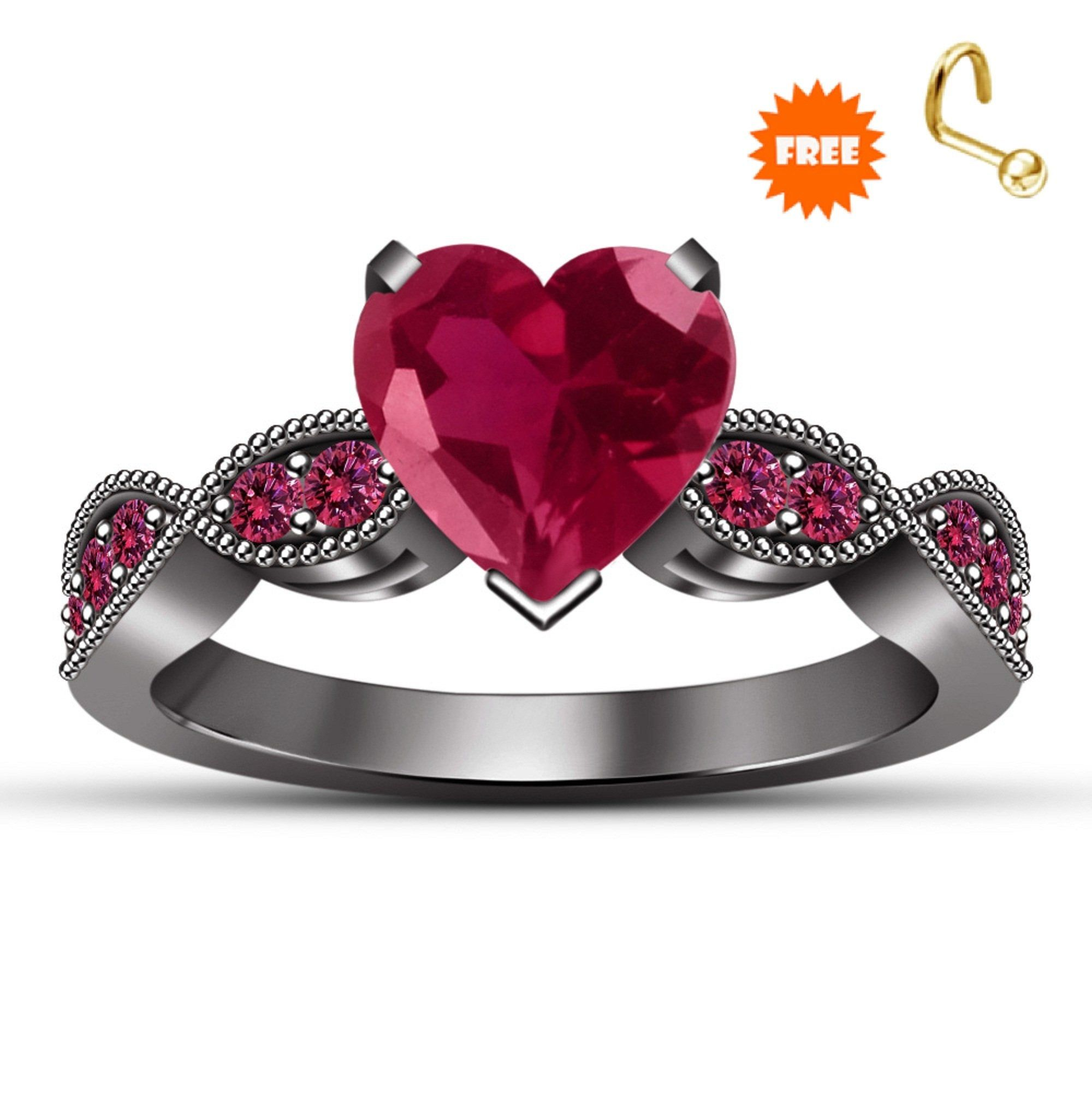 Sterling Silver Round Pink Sapphire Simulated Diamond Art Deco Ring Women/'s Solitaire Engagement Wedding Promise Ring