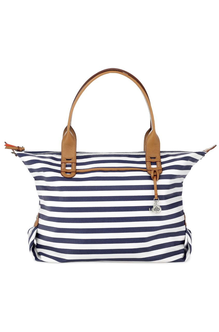 56c31951e313 Navy   White Stripe Tote Bag   Satchel