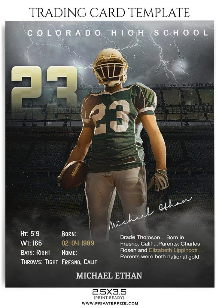 Michael Ethan Sports Trading Card Photoshop Template Trading Card Template Football Trading Cards Trading Card Ideas