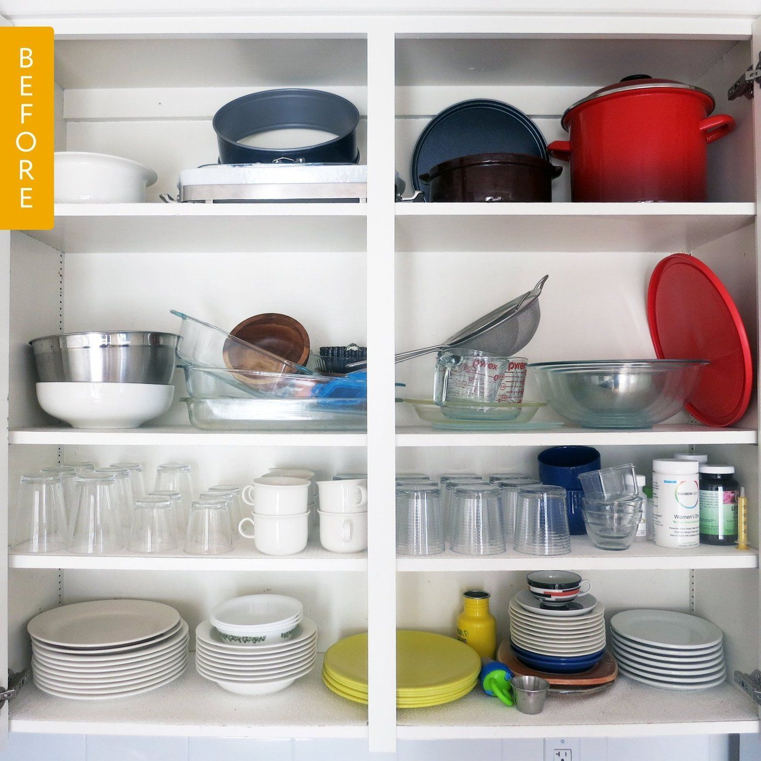 Before After A Dish Cupboard Makeover Cupboard Makeover Kitchen Cupboards Kitchen Organization