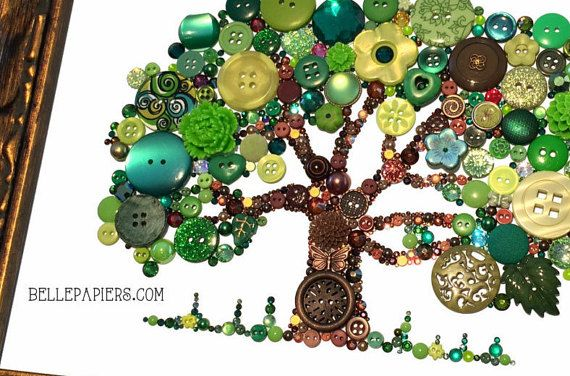 $899.00 Button Art Tree of Life Button Art with Swarovski by BellePapiers