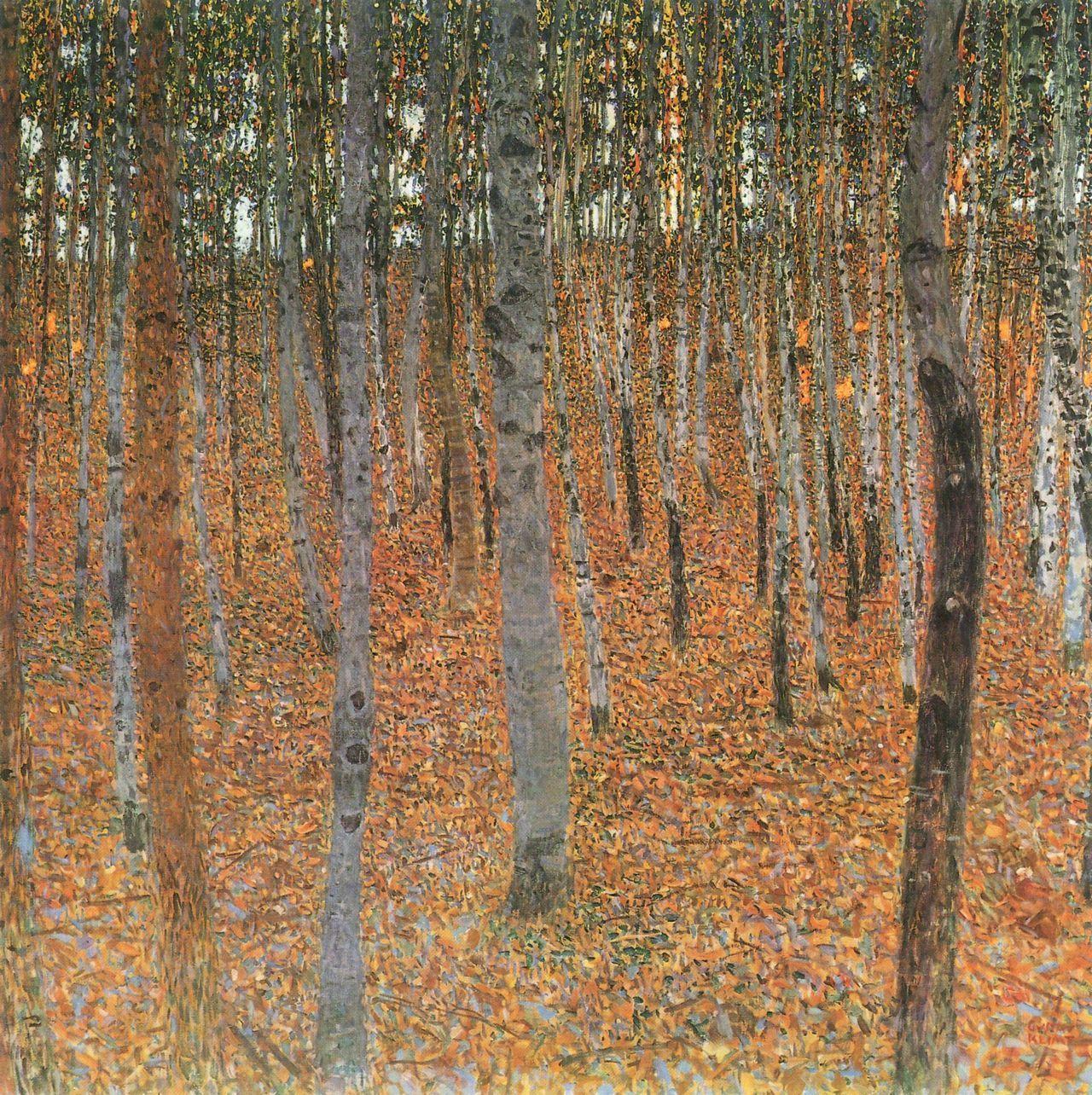 Gustav Klimt Beech Grove Stretched Canvas Wall Art