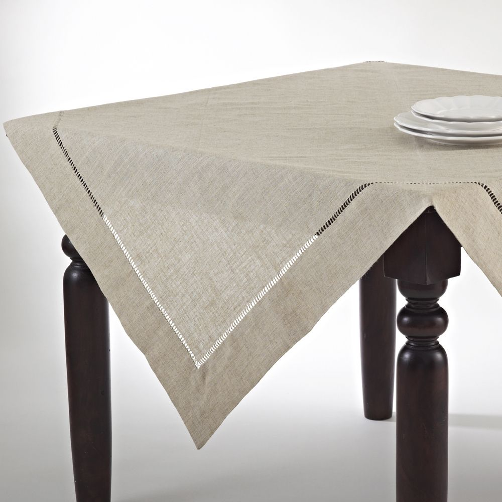 Exceptional Saro Toscana Table Topper (Natural Tablecloth 80 In X 80 In), Natural