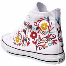 Converse All Star Chucks 111100 UE 41 UK 8 BIANCO RICAMO FLOWER Limited Edition