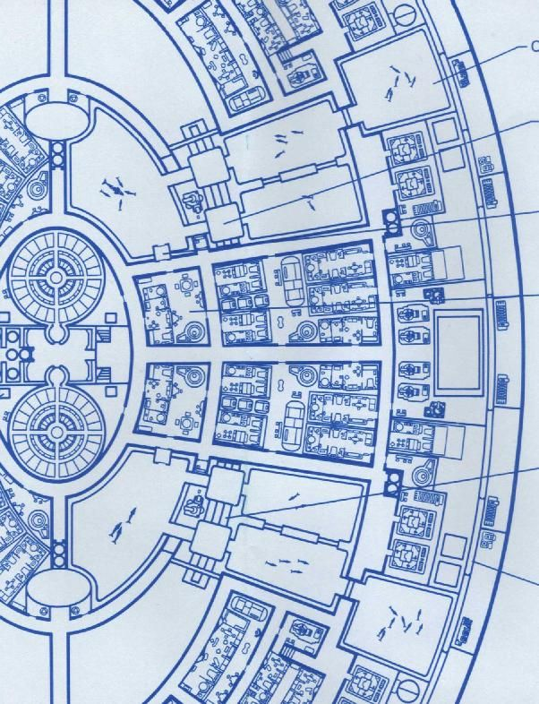 Blueprint schematic of Deck 13 from Saucer Section of USS - new blueprint architecture enterprise