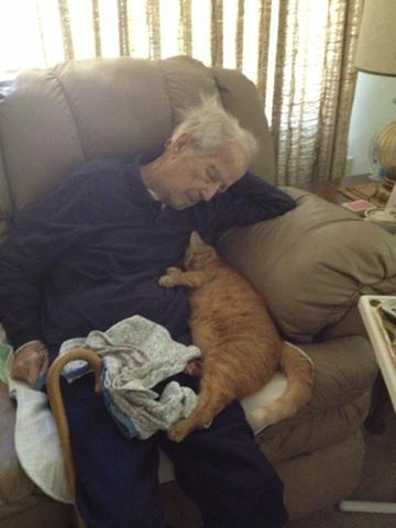 """Paw My Gosh's photo: """"My grandpa turned 100 and his cat turned 17. Here they are, napping together. """" Wish them a Happy Birthday! ♥"""