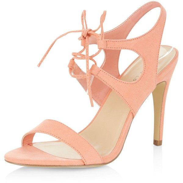 order online affordable price buy online New Look Coral Suedette Tie Front Heeled Sandals (125 SAR ...
