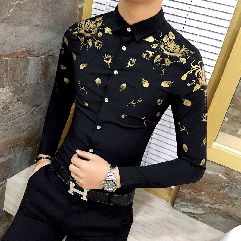 16fd60bd2680 2018 Camisa Social Masculina Slim Fit Gold Printing Mens Dress Shirts  Baroque Shirts Club Outfits Mens Long Sleeve Shirts Casual.