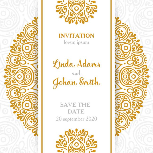 Retro Style Mandala Adornment Wedding Invitation Card Download The Wedding Invitation Card Design Luxury Wedding Invitations Design Wedding Invitation Vector