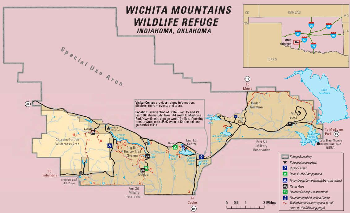 Mountains In Oklahoma Map.Wichita Mountains National Wildlife Refuge Map Travel Na Usa