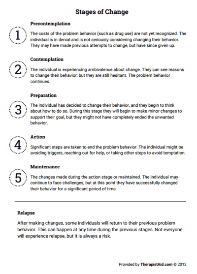 Stages of Change ( Worksheet) | | Counseling | Counseling, Therapy ...