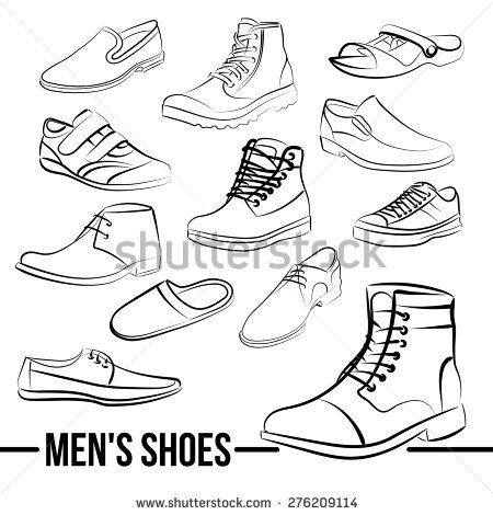 Vector set of men\u0027s shoes painted lines in minimalist style