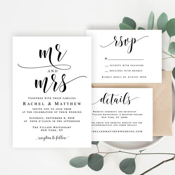 Wedding Invitation Template Download Mr And Mrs Wedding Invitation