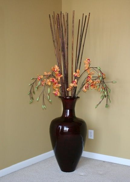 Large Decorative Vase With Bamboo Sticks And Silk Orchids Large