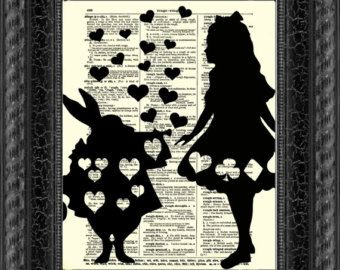 Alice In Wonderland Art Print, Alice And The White Rabbit Dictionary Art, Home  Decor
