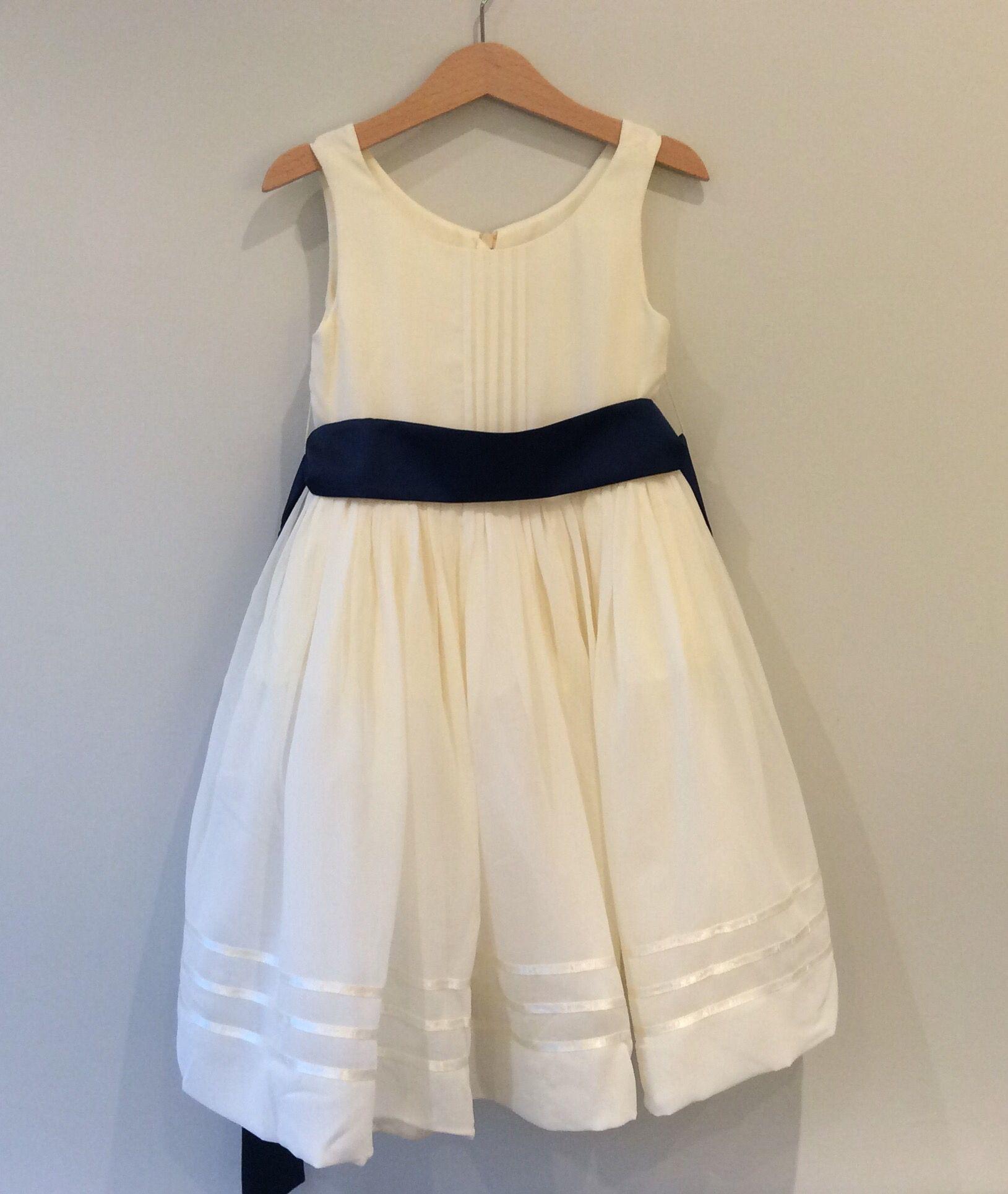 Gorgeous Soft Cream Flower Girl Dress With Navy Sash Matchimony