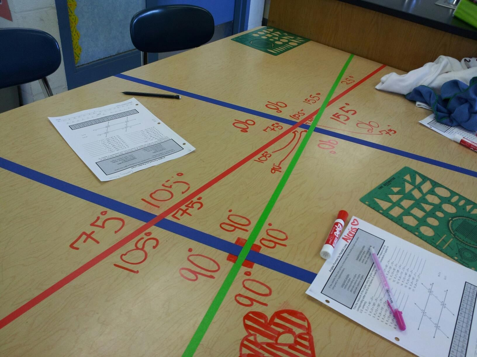 A Great Way To Practice Measuring Angles Tape Up Desks