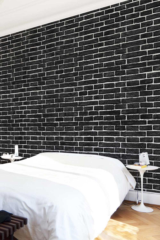 Carta da parati Premium larga Brick wall black nel 2019
