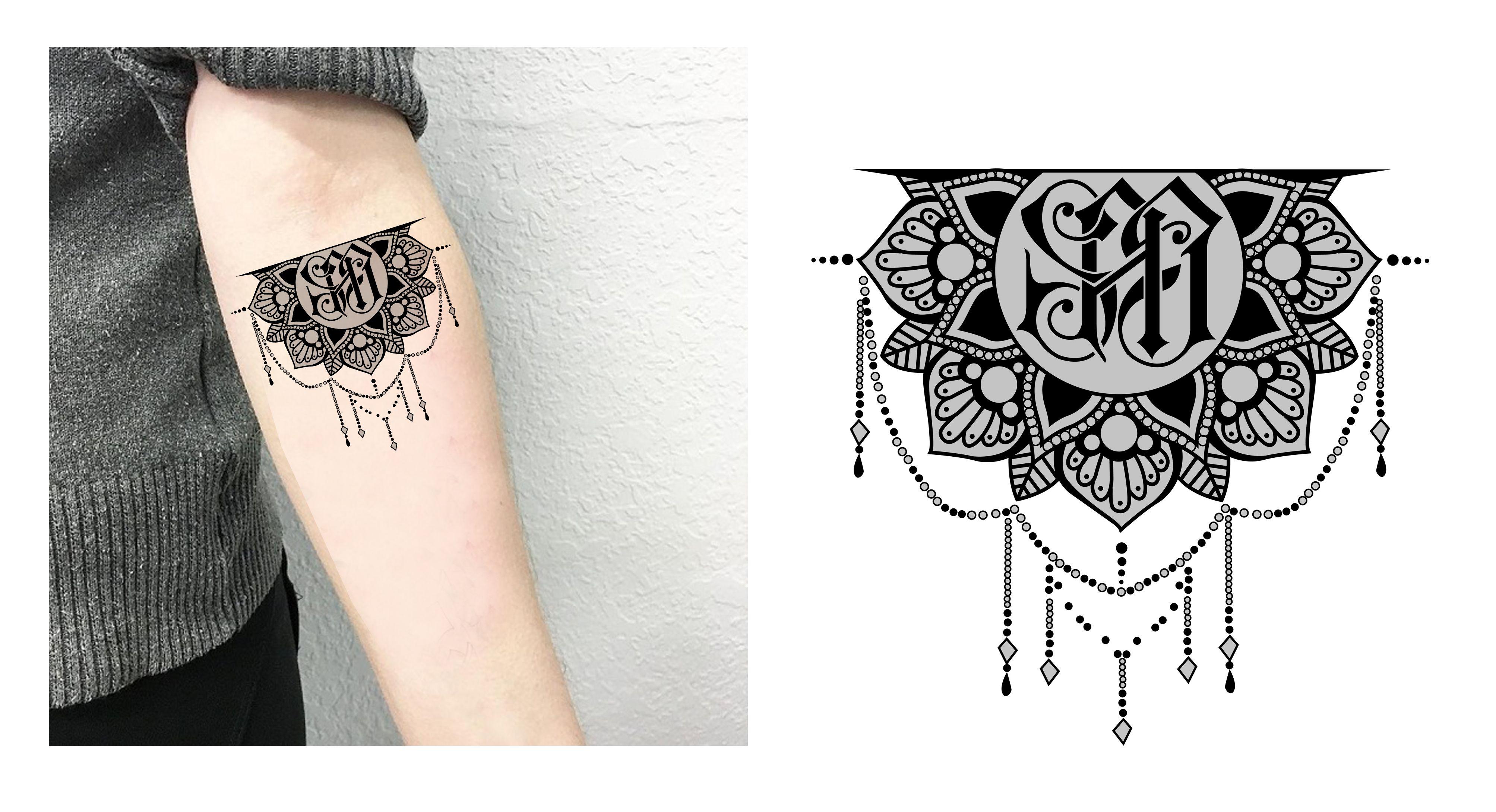 Mandala Initials Forearm Feminine Monogram Tattoo Design Designer Andrija Protic Monogram Tattoo Feminine Monogram Unique Tattoos For Women