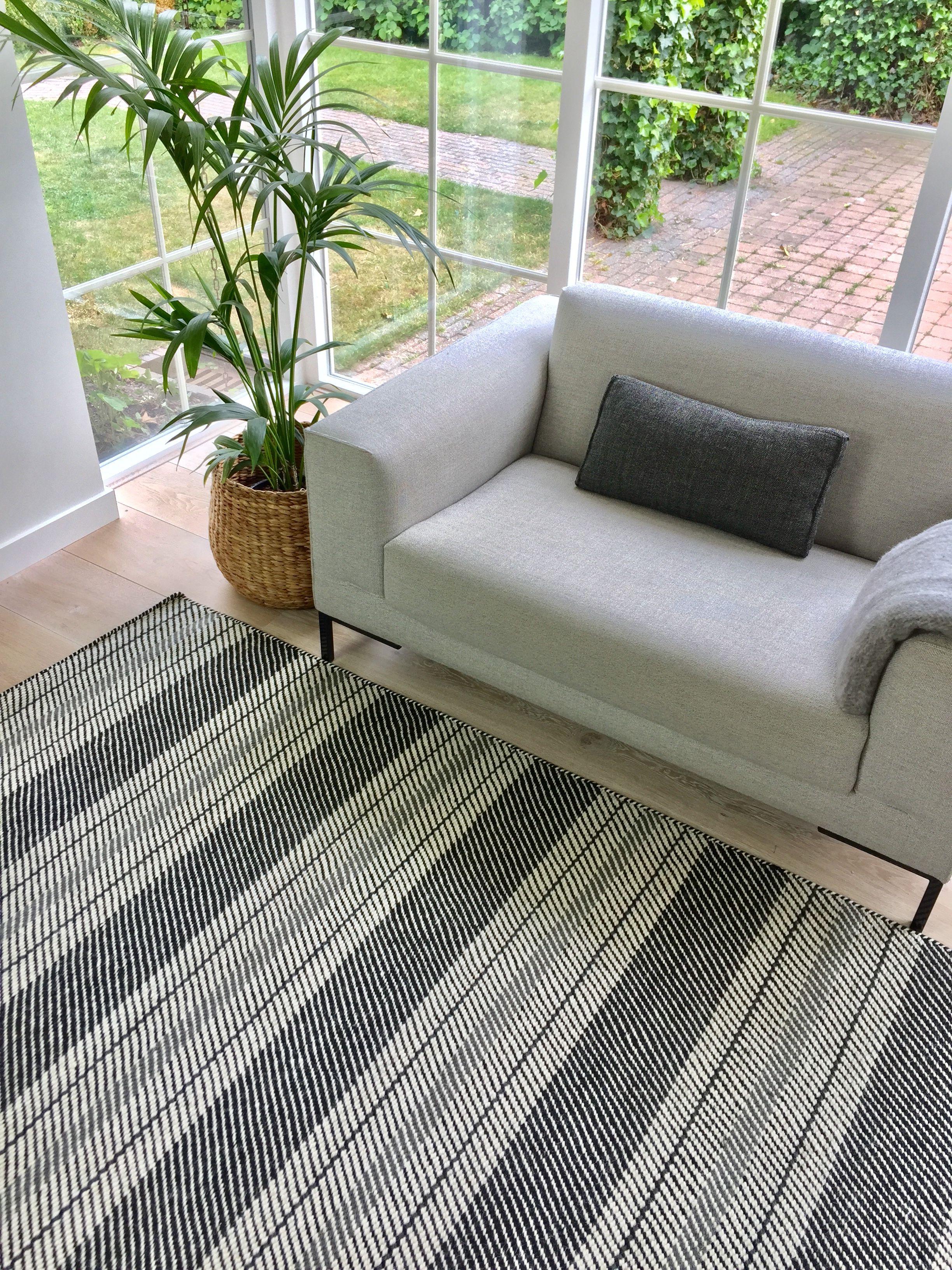 Wollen vloerkleed Zwart/Wit - Airbag | Modern