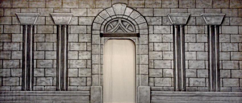 castle interior with cut door