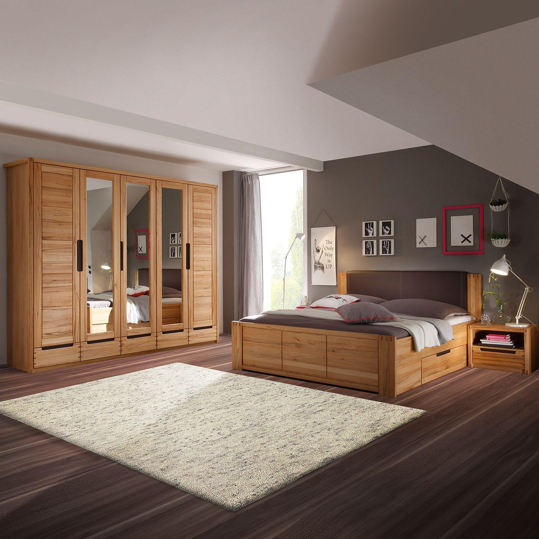 Schlafzimmerset Kendisi (4-teilig) - Kernbuche teilmassiv, Ars ...