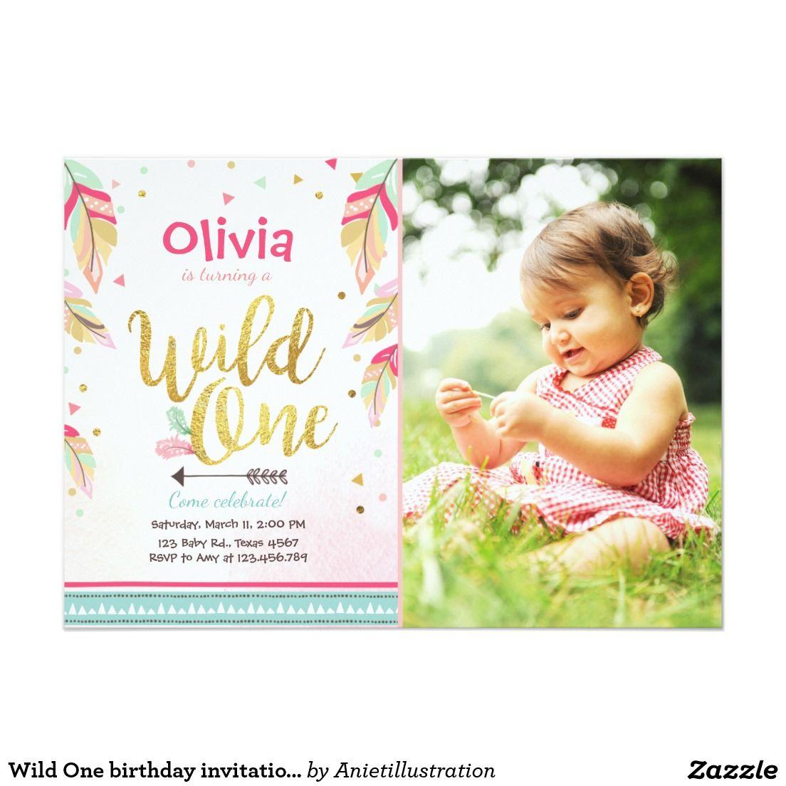 Wild One birthday invitation First birthday Girl   Xaneli bday ...