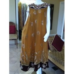mustard brown frock with stones and gota work - perfect for mehndi or any party