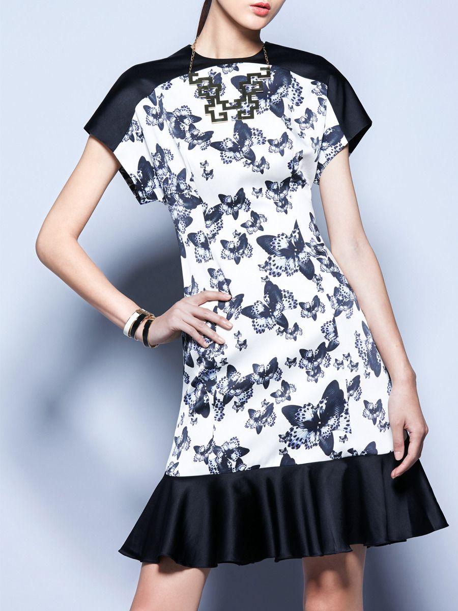 Butterfly Print Silk Dress with Ruffles by Wang Peiyi