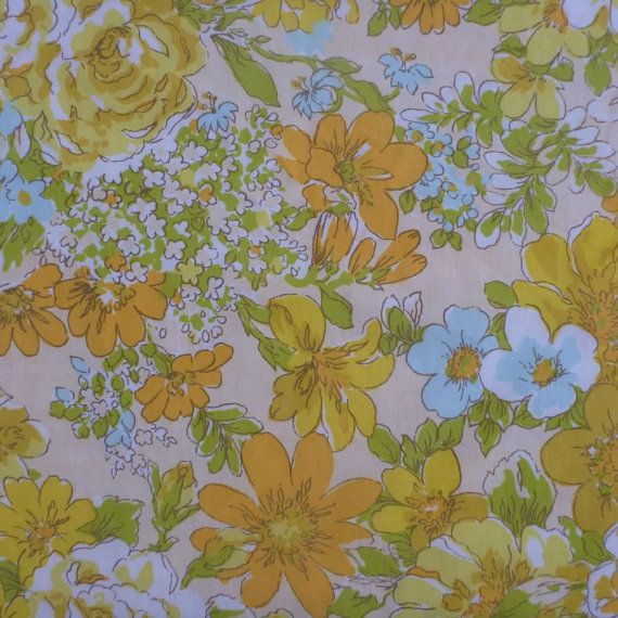 vintage sheet fabric fat quarter (yellow and aqua detailed floral)