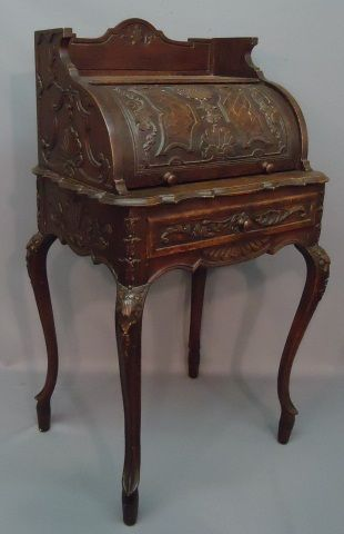 Carved Oak Ladies Rolltop Desk To Auction To Auction