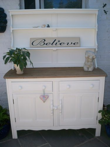 ERCOL VINTAGE SHABBY CHIC SOLID OAK PAINTED DRESSER SIDEBOARD FARROW & BALL - ebay