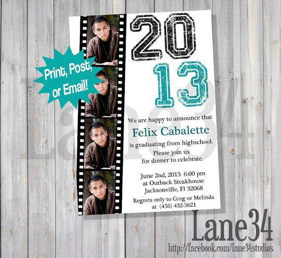 SALE Film Strip Graduation Announcement Invitation by Lane34Party, $5.00