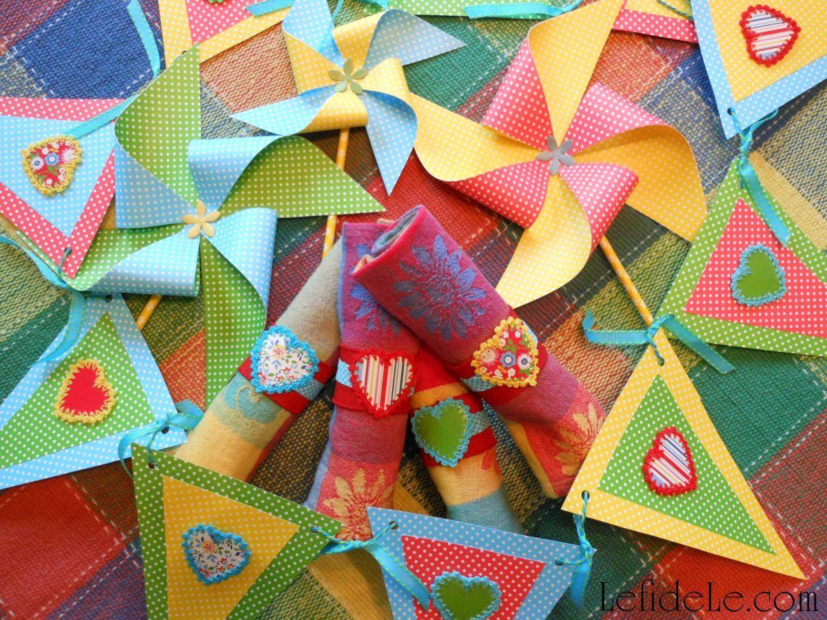 DIY Picnic Heart Napkin Rings & Customizable Banner + Pinwheel Craft ...