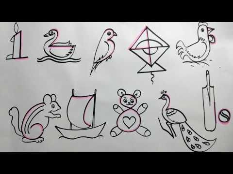 Number drawing for kids|| How to draw pictures using ...