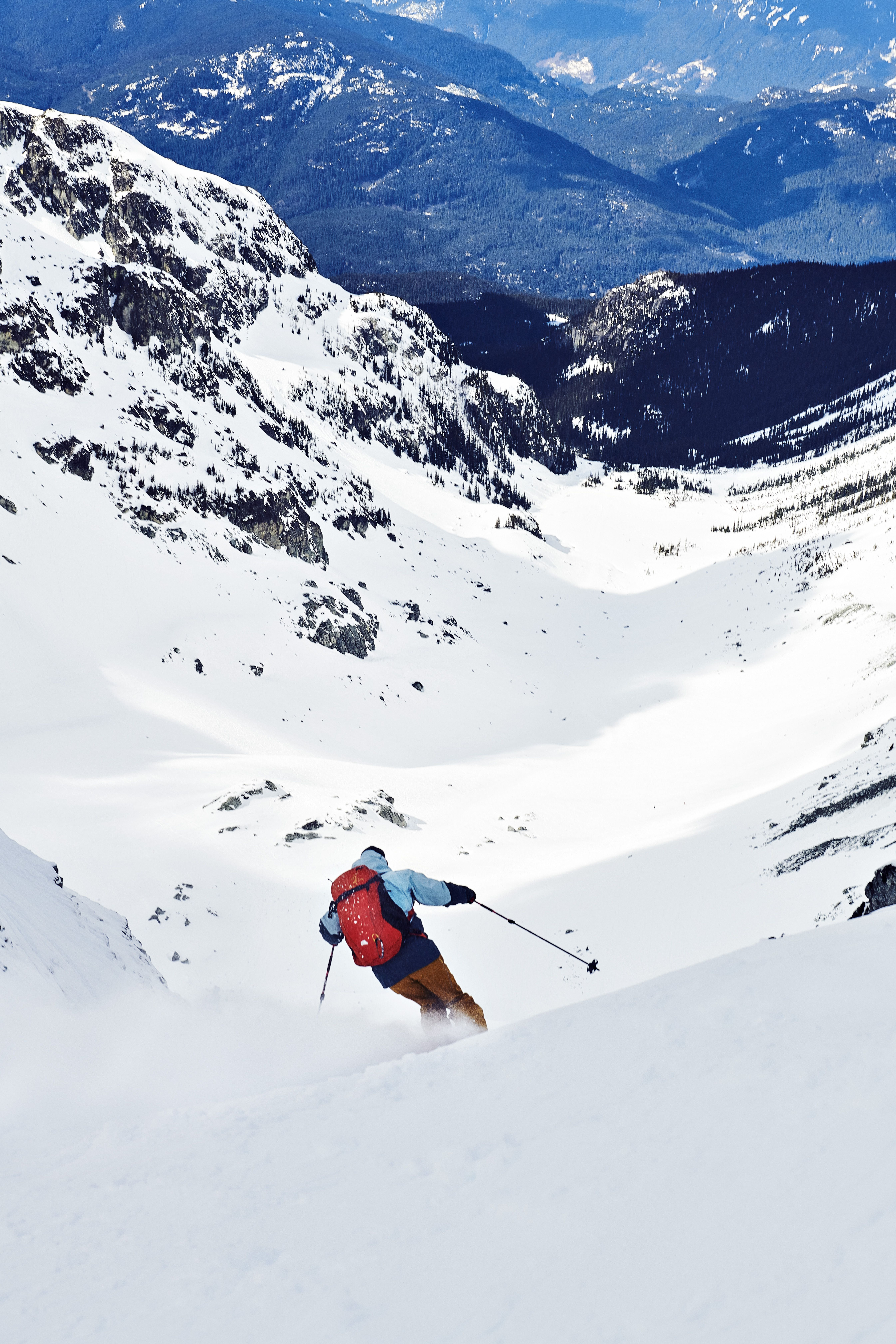 Skiing Whistler in Arc'teryx Whiteline collection. Skiing