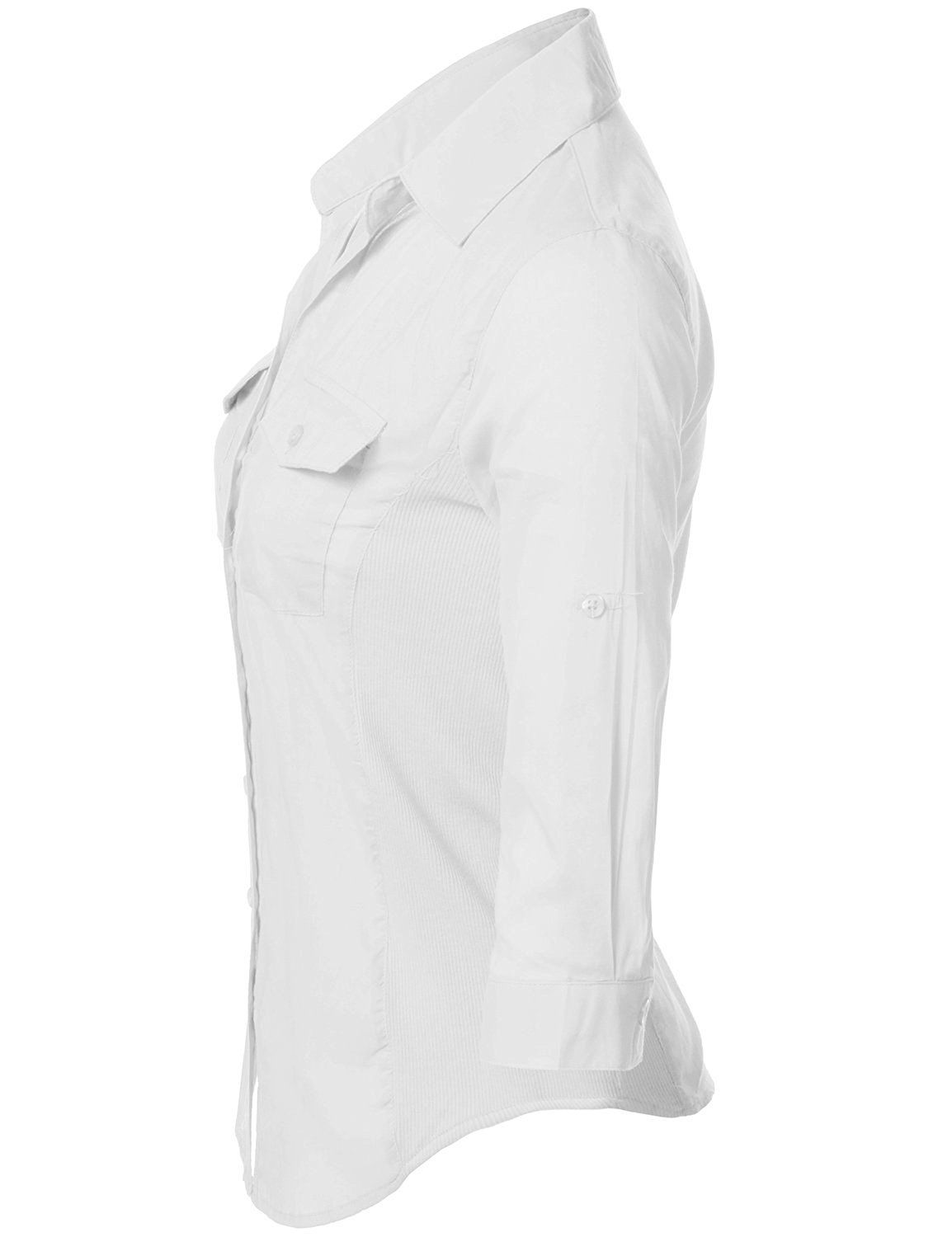 Amazon.com: Junior Size Sheer Thin Lightweight Side Ribbed Panel Basic Button Down Shirts: Clothing