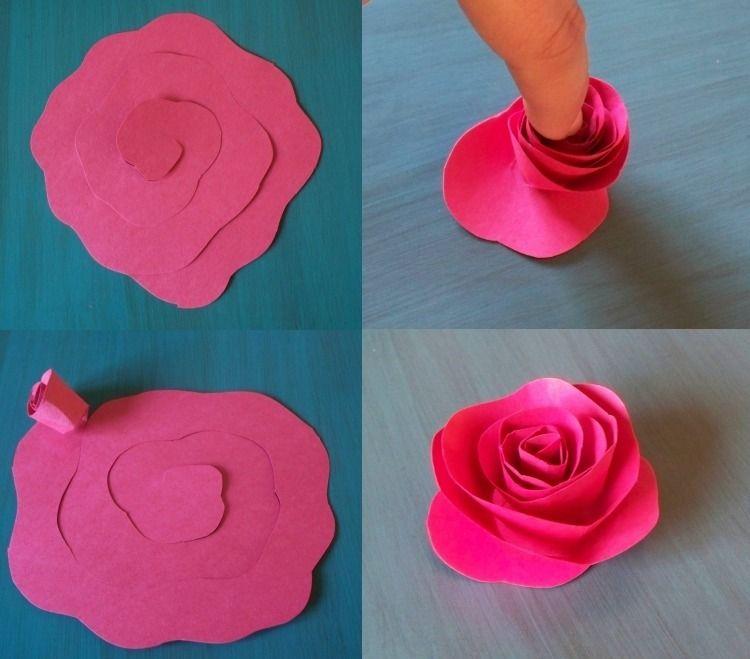Rose aus Papier selber machen - Anleitung Für die Kinder - bonboniere selber machen anleitung