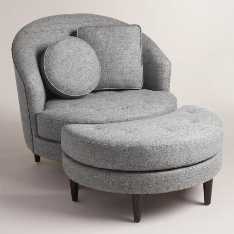 Gray Round Seren Chair and a Half - sillones para habitaciones