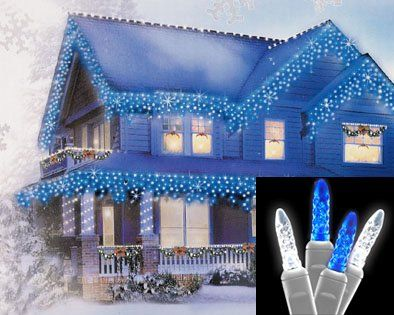 set of 70 blue and pure white led mini twinkle icicle christmas lights white wire - White Wire Led Christmas Lights