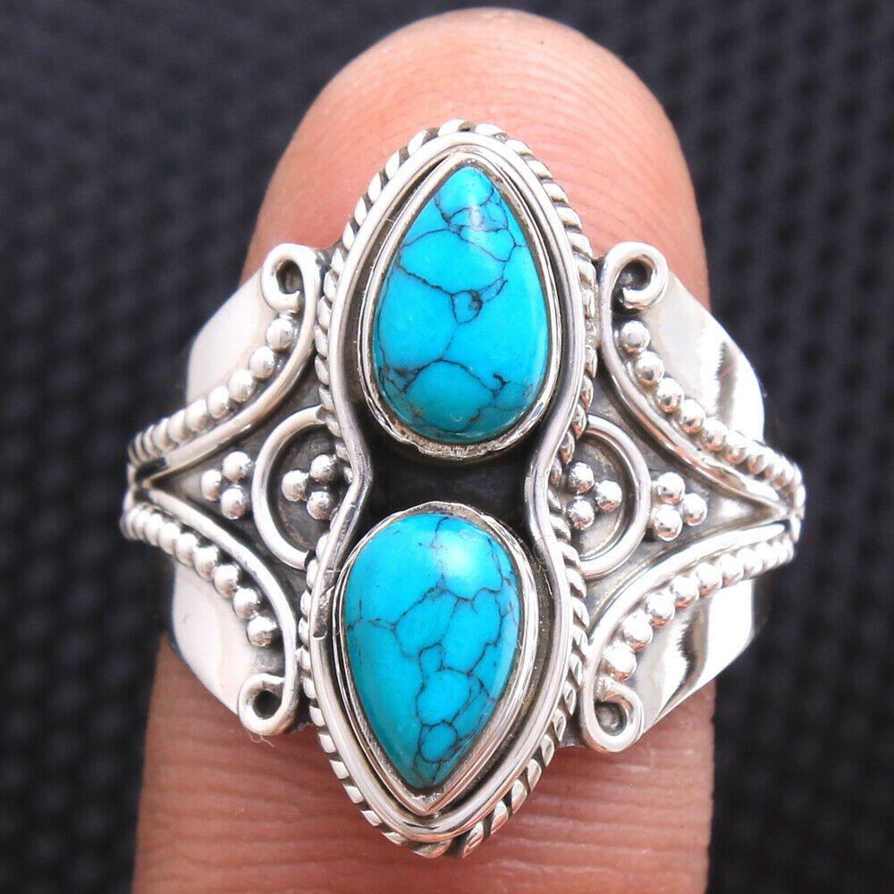 Turquoise Cab Gemstone Handmade Women Ring 925 Sterling