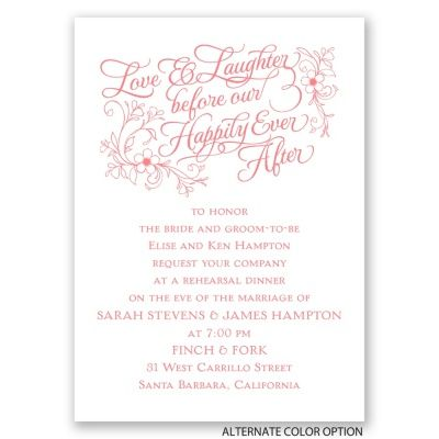 7e0f6712c4d4 Love   Laughter before our Happily Ever After Rehearsal dinner invitation