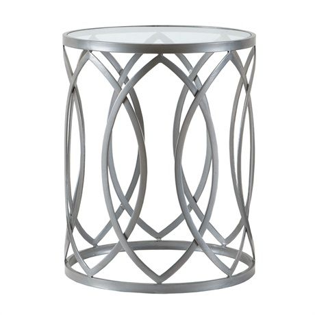 SILVER METAL ACCENT TABLE BLACK TOP