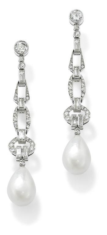 Honeymoons & Destination Weddings  Check out our Facebook Page!  https://www.facebook.com/AAHsf  pair-of-art-deco-natural-pearl-and-diamond-ear-pendants